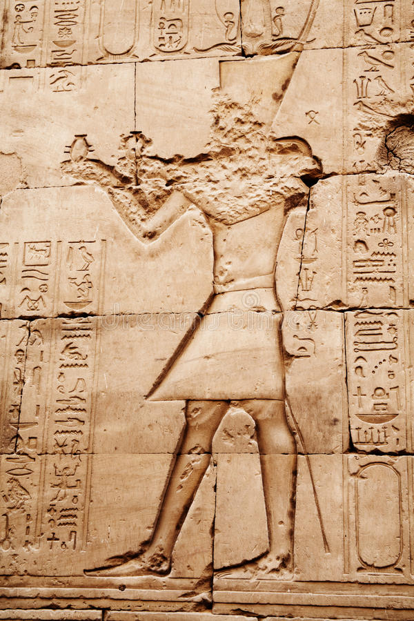 Download Egyptian Images And Hieroglyphs Engraved On Stone Stock Image - Image: 18548053