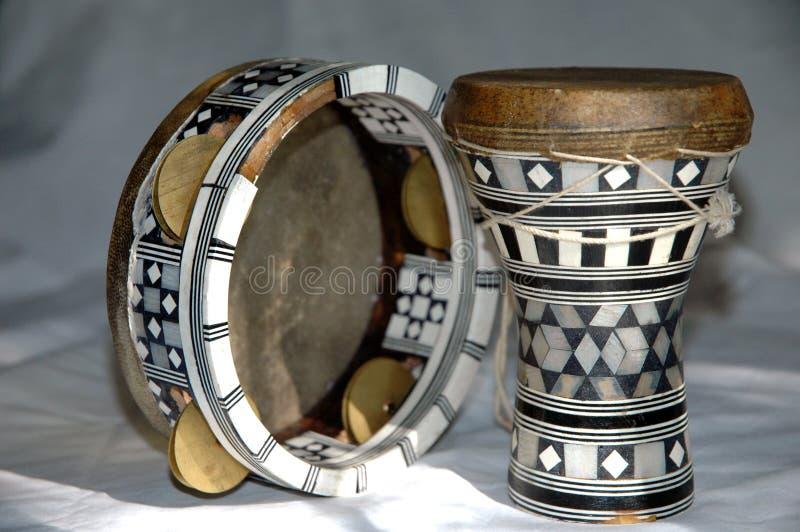 Egyptian instruments. Drum and tamburine close Nikon D70 camera stock image