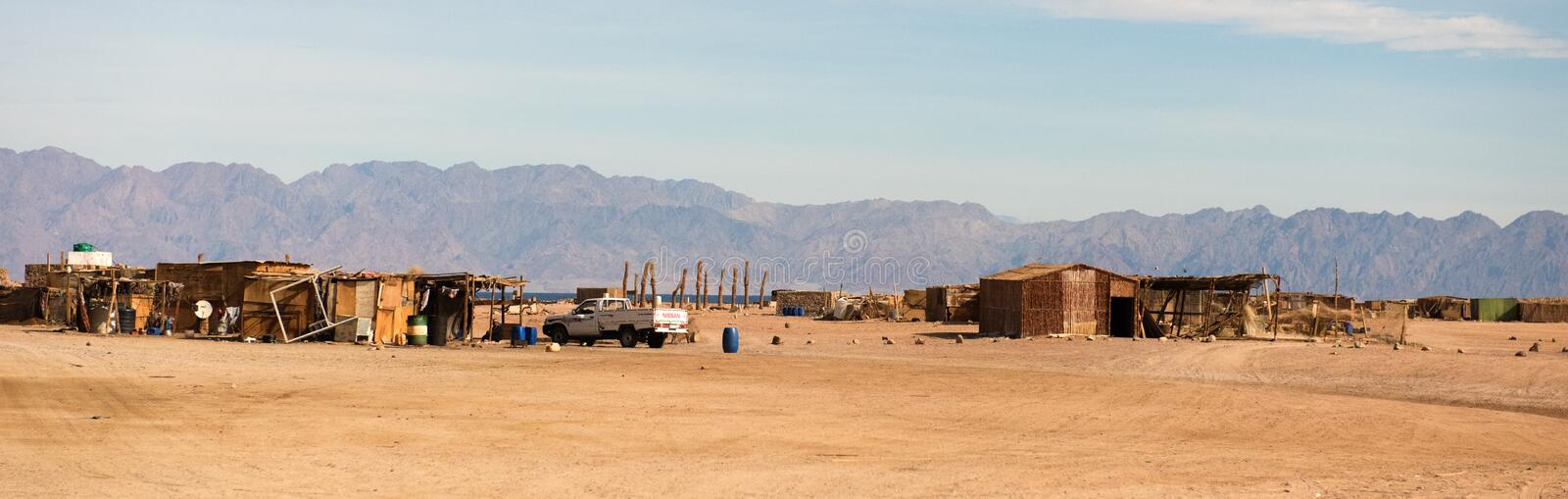Egyptian landscape, Bedouin village in desert stock image