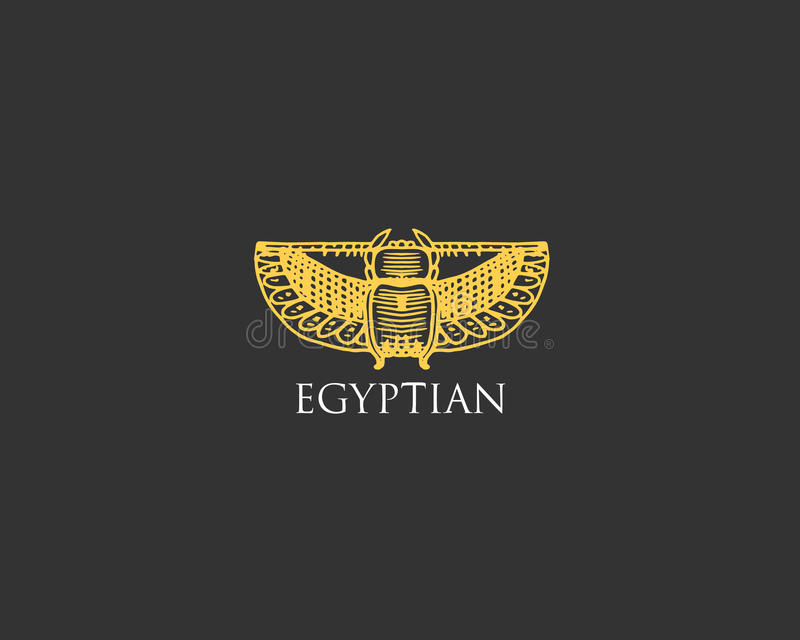 Egyptian logo with Scarab beetle symbol of ancient civilization vintage, engraved hand drawn in sketch or wood cut style stock illustration