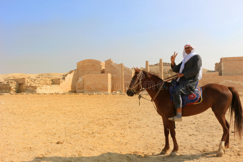 Egyptian man on horseback at Saqqara stock photos