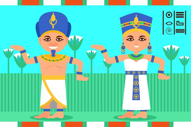 Egyptian man and woman in dancing action. Pharaoh and queen of Egypt in traditional clothes. Lotus flowers on background stock illustration