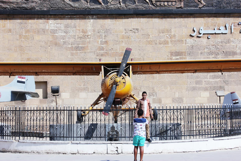 The egyptian military museum. Old military weapons like strike aircraft in the military museum at Salahaldin citadel in cairo in egypt stock image