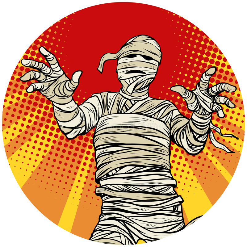 Egyptian mummy walking pop art avatar character icon royalty free illustration