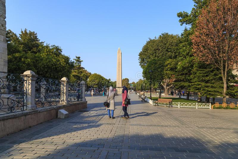 The Egyptian obelisk at the former Hippodrome, Sultanahmet Square, Istanbul stock photos