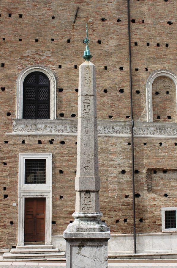 Egyptian obelisk in Urbino stock photo