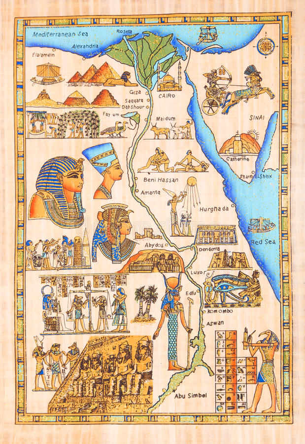 Egyptian painting on papyrus royalty free illustration