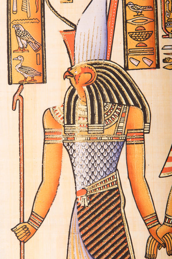 Egyptian painting on papyrus royalty free stock photos