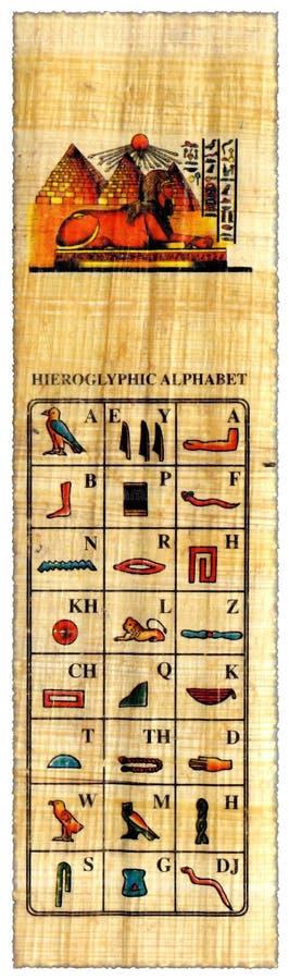 Egyptian papyrus with hieroglyphs alphabet stock photo