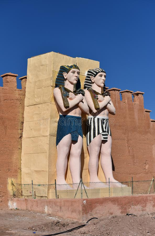 Egyptian pharaohs life-size figures. Life-size figures of Egyptian pharaohs at Ouarzazate Atlas Film Studios in Morocco. Ouarzazate area is a famous film-making royalty free stock image