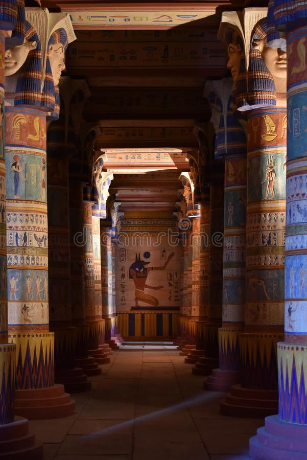 Ancient Egyptian paintings, Ouarzazate Atlas Film Studios decorations, Morocco. Egyptian pillars with ancient paintings at Ouarzazate Atlas Film Studios in royalty free stock photography