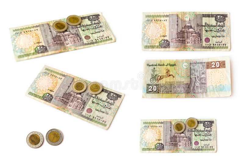 Egyptian Pounds Banknote And Coins Set Egp Stock Image Image Of
