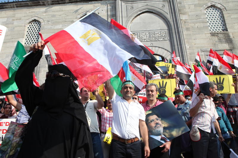 Egyptian Protest. ISTANBUL, TURKEY- AUGUST 17: Thousands of people gathered to protest the recent deadly military crackdown in Egypt, on August 17, 2013 in stock image