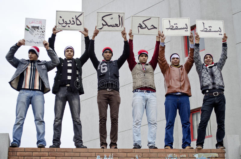 Download Egyptian Protestors Holding Protest Signs Editorial Image - Image: 25666485