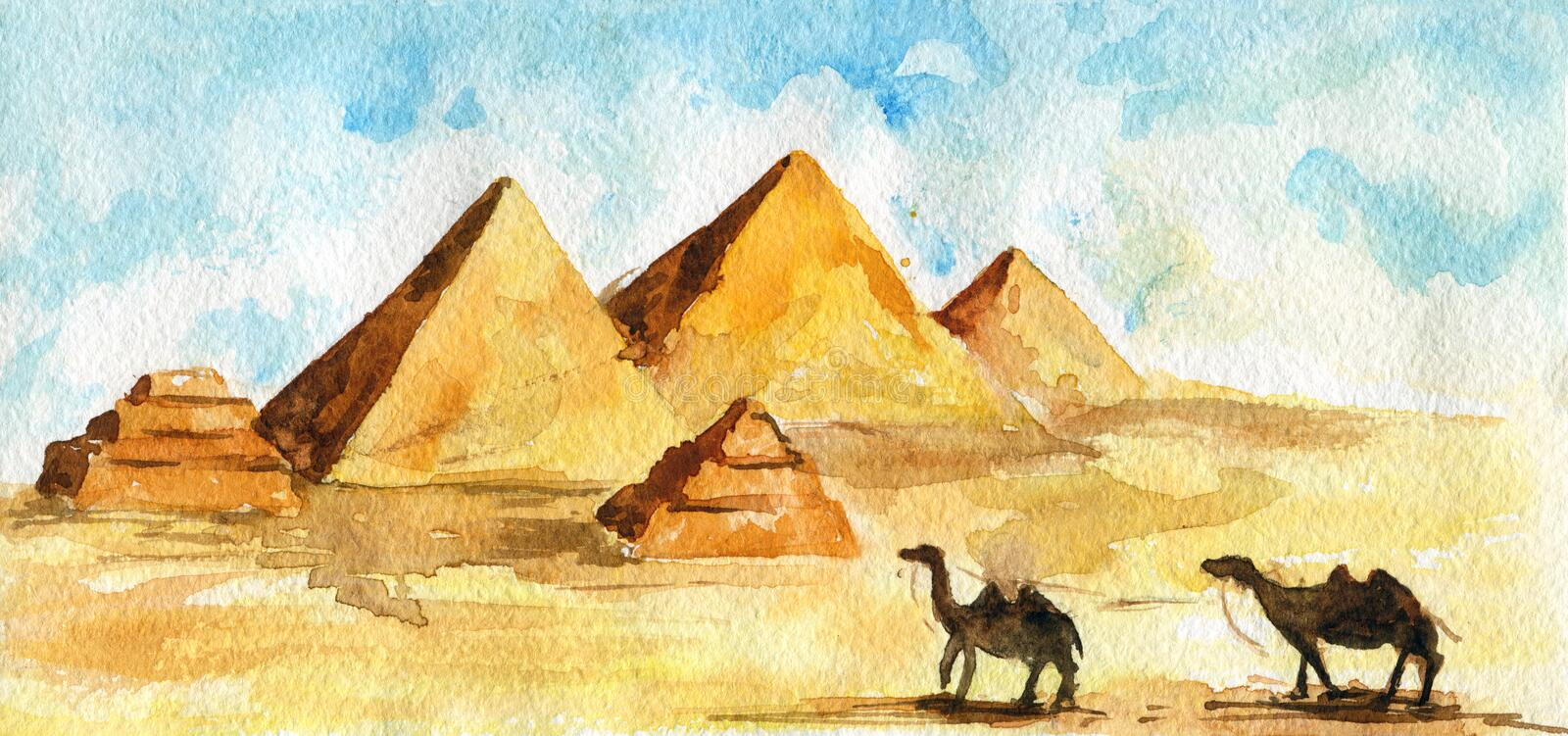 Egyptian pyramids in desert, two camels walking. Watercolor sketch. royalty free illustration