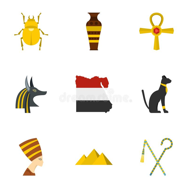 Egyptian pyramids icons set, cartoon style vector illustration