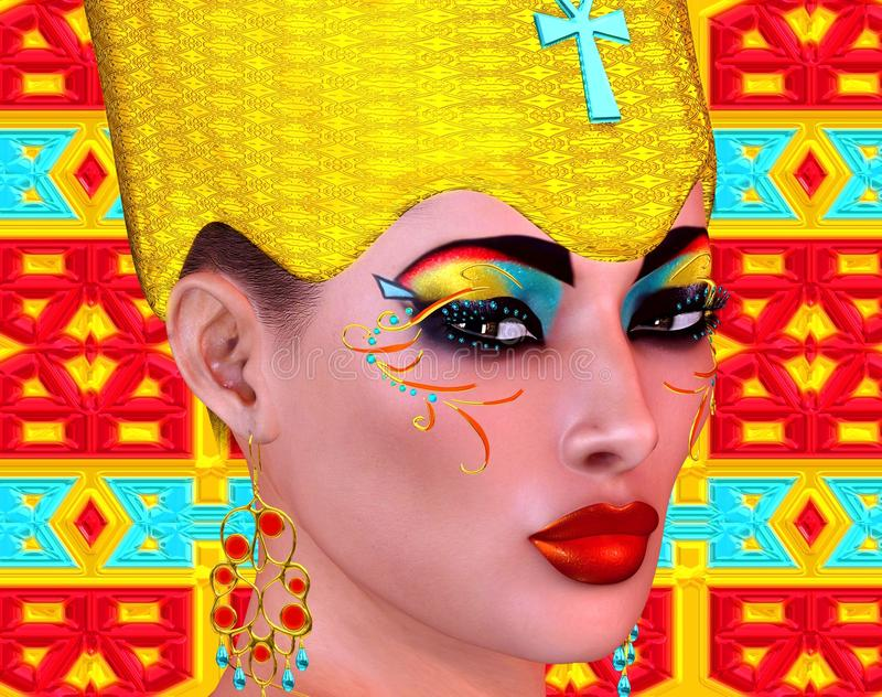 Egyptian queen adorned with gold and turquoise jewelry. Colorful matching cosmetics and background all come together to complete this Egyptian digital art stock illustration