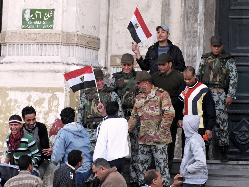 Egyptian Revolution, The Army And Demonstrators Editorial Stock Photo