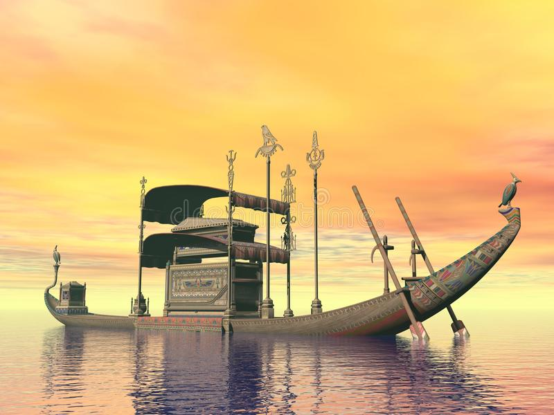 Egyptian sacred barge with tomb - 3D render. Egyptian sacred barge with tomb floating on the water by sunset royalty free illustration