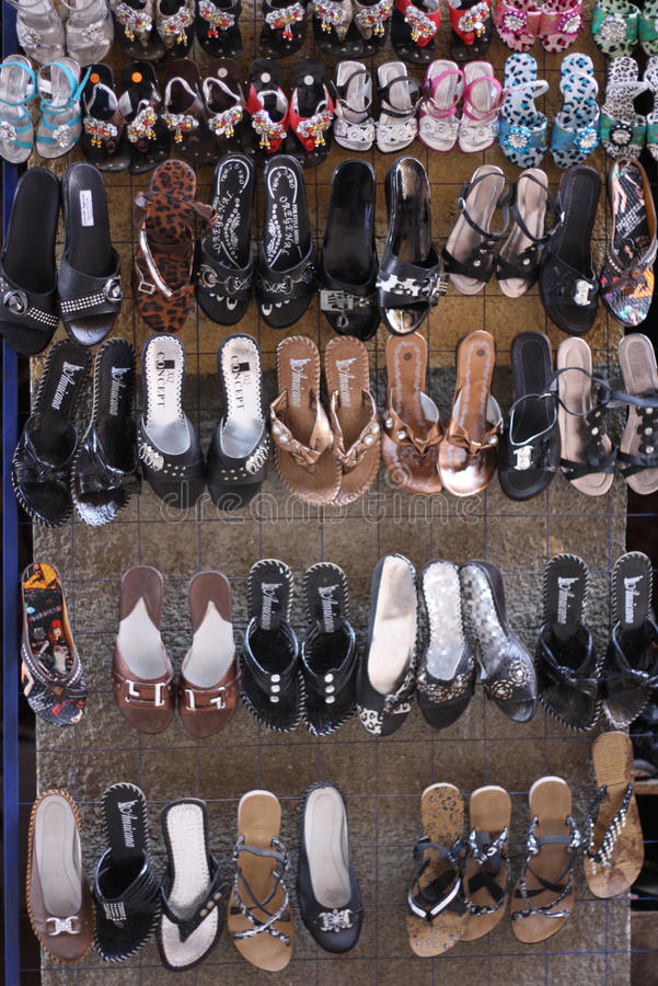 Egyptian sandals for sale in bazaar at souk stock photo