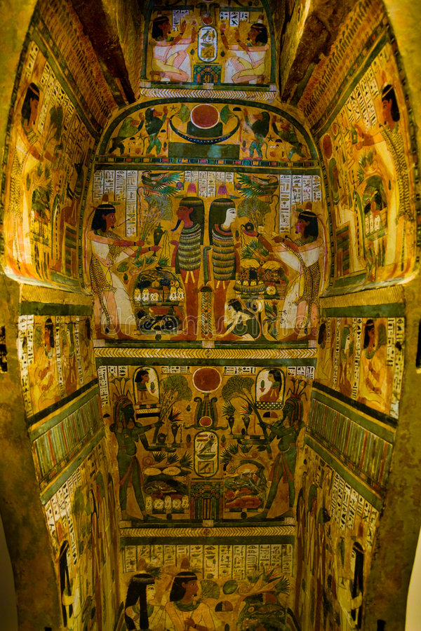 Egyptian sarcophagus. Interior of a painted Egyptian sarcophagus stock photos
