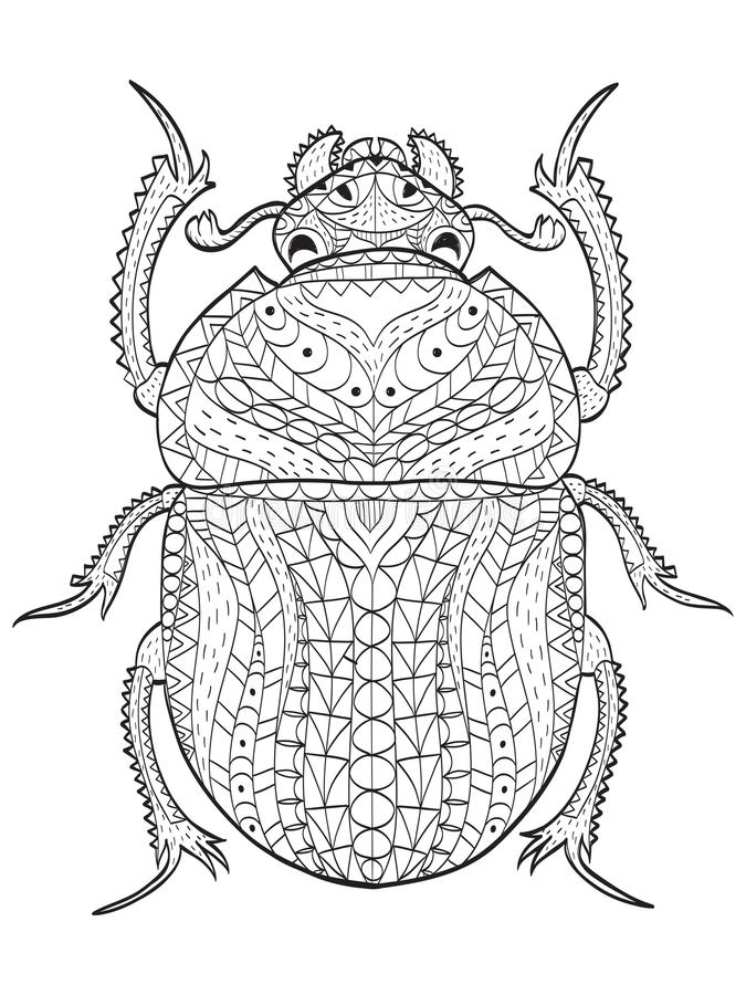 Download Egyptian Scarab Beetle Coloring Vector For Adults Stock