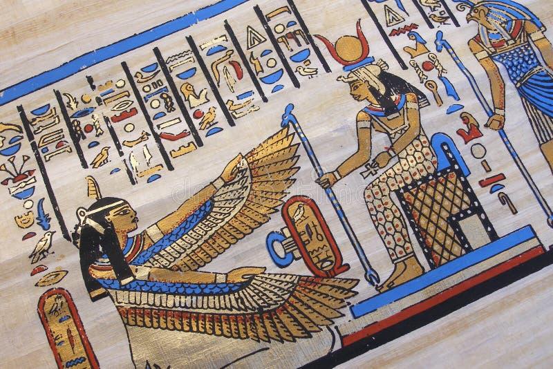 Egyptian scene on papyrus royalty free stock image