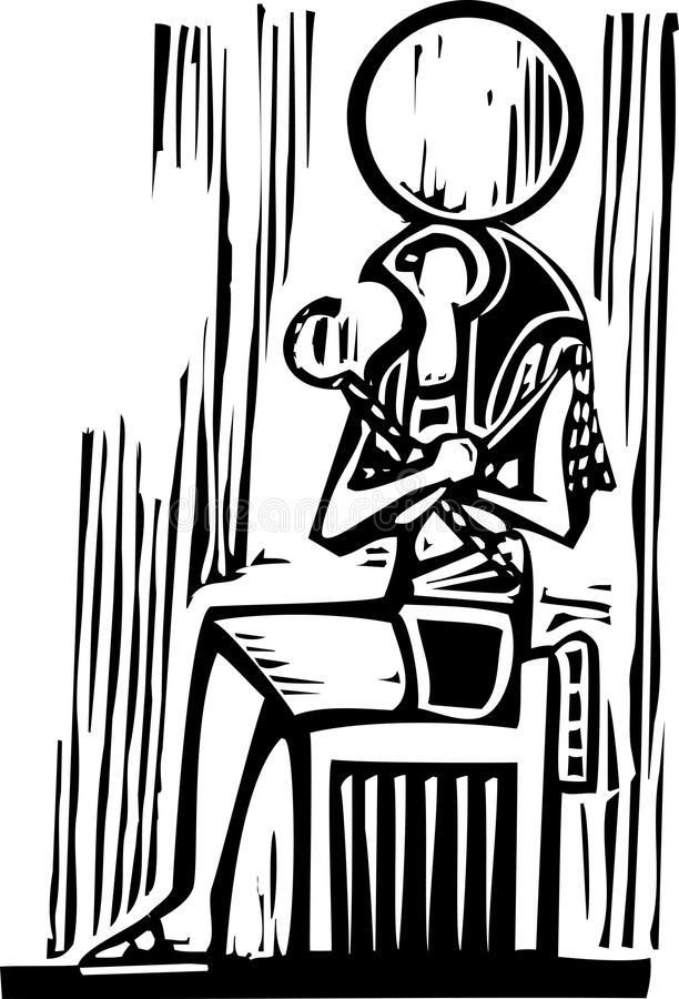Egyptian Sitting Osiris. Woodcut style image a seated Egyptian God Osiris stock illustration
