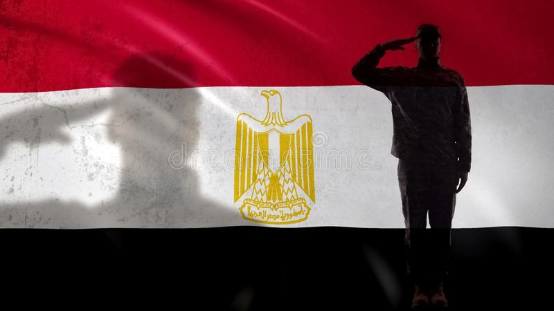 Egyptian soldier silhouette saluting against national flag, country strength stock image