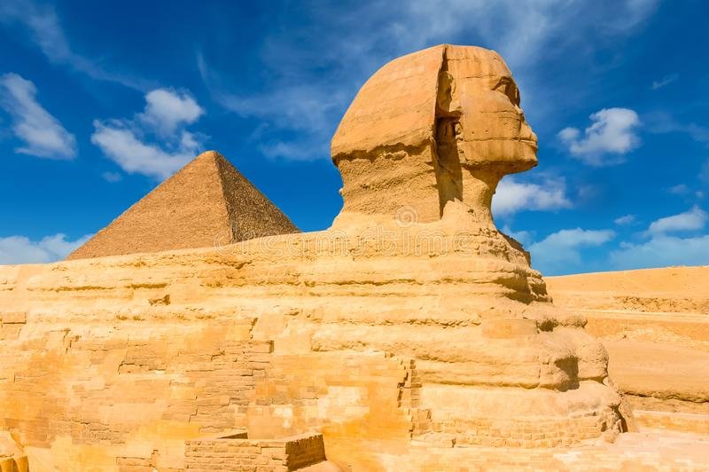 Egyptian sphinx. Cairo. Giza. Egypt. Travel background. Architectural monument. The tombs of the pharaohs. Vacation holidays back royalty free stock photo