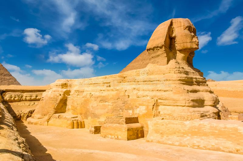 Egyptian sphinx. Cairo. Giza. Egypt. Travel background. Architectural monument. The tombs of the pharaohs. Vacation holidays back stock image
