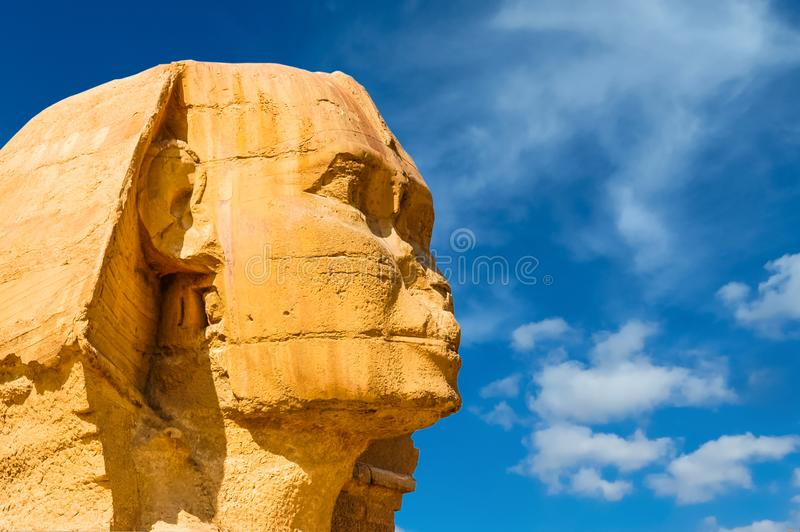 Egyptian sphinx. Cairo. Giza. Egypt. Travel background. Architectural monument. The tombs of the pharaohs. Vacation holidays back royalty free stock image