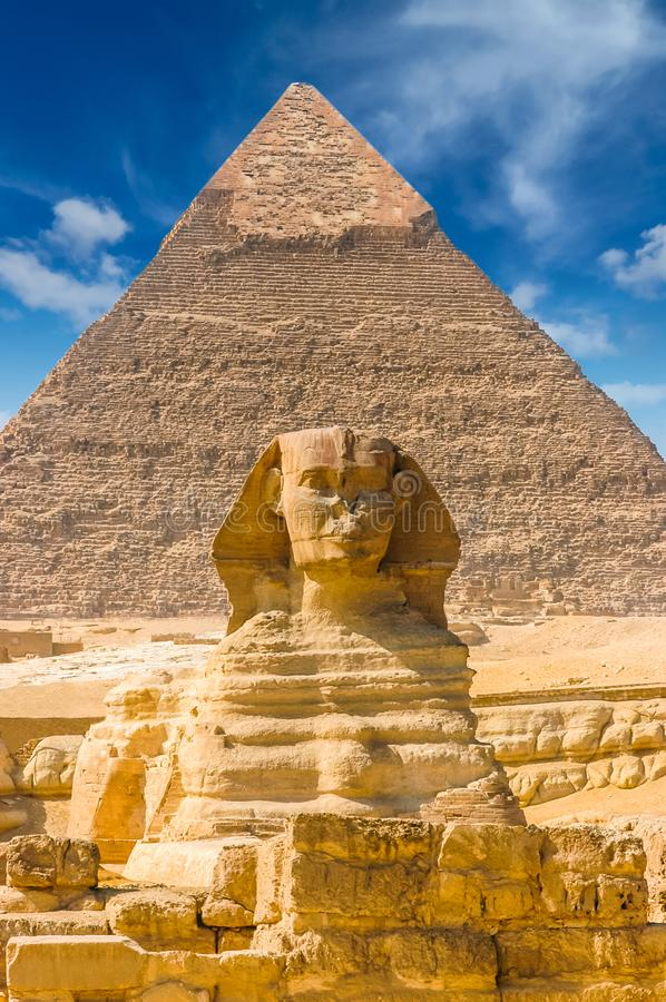 Egyptian sphinx. Cairo. Giza. Egypt. Travel background. Architectural monument. The tombs of the pharaohs. Vacation holidays back stock photos