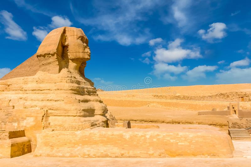 Egyptian sphinx. Cairo. Giza. Egypt. Travel background. Architectural monument. The tombs of the pharaohs. Vacation holidays back royalty free stock photos