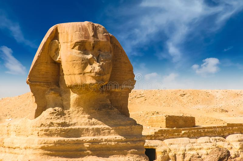 Egyptian sphinx. Cairo. Giza. Egypt. Travel background. Architectural monument. The tombs of the pharaohs. Vacation holidays back. Ground wallpaper royalty free stock photography