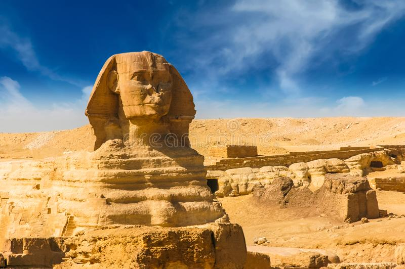 Egyptian sphinx. Cairo. Giza. Egypt. Travel background. Architectural monument. The tombs of the pharaohs. Vacation holidays back. Ground wallpaper royalty free stock photo