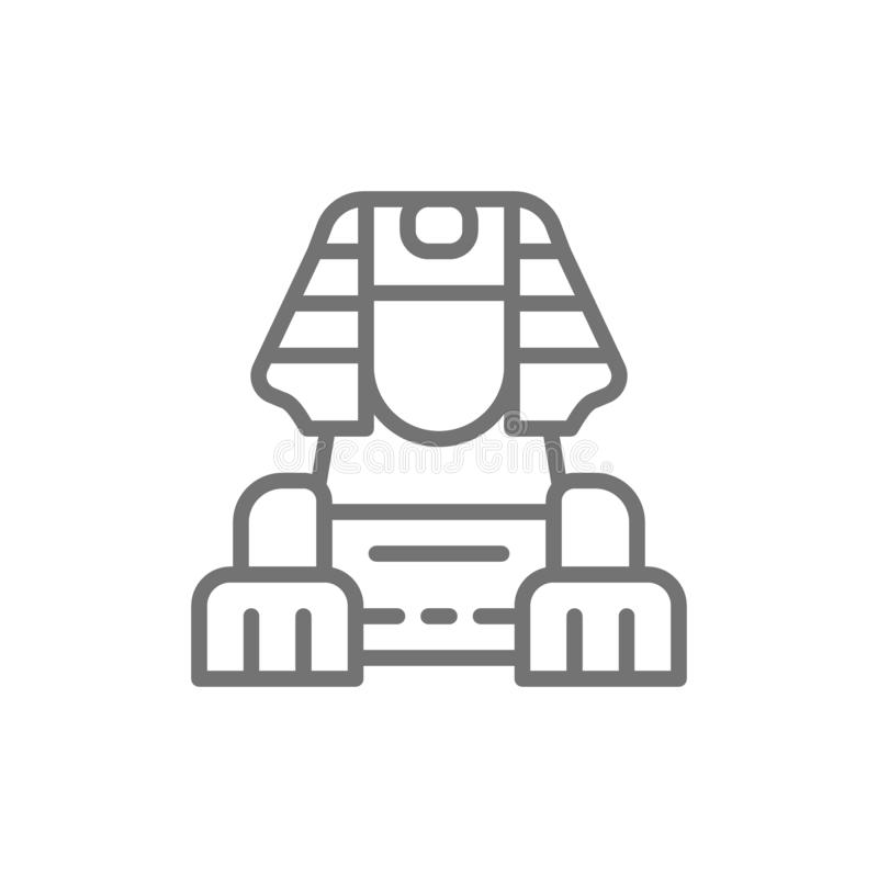 Egyptian Sphinx line icon. stock illustration