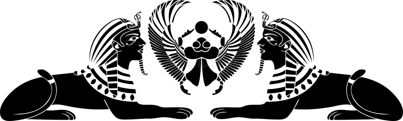 Egyptian sphinx with scarab vector illustration