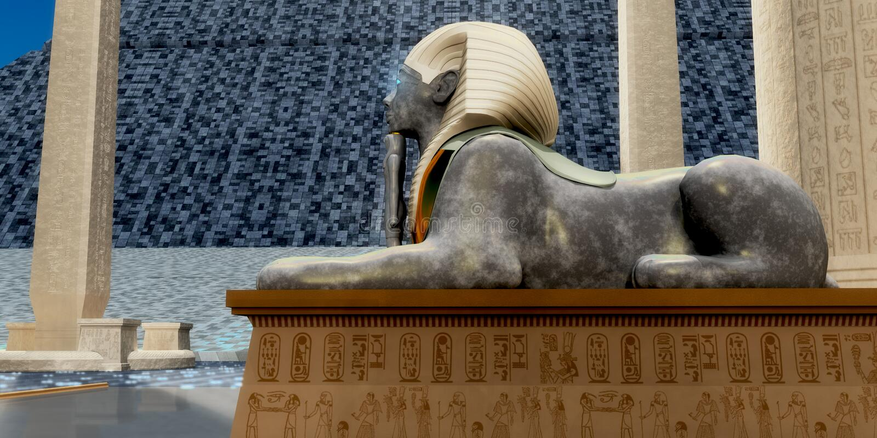 Egyptian Sphinx Statue vector illustration