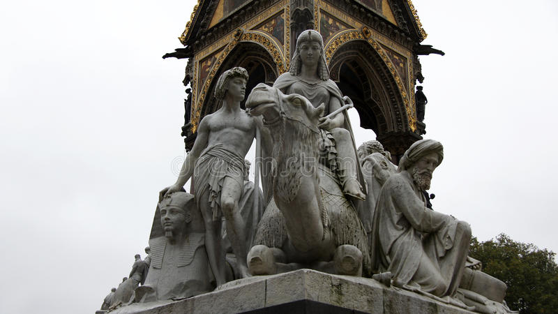 Egyptian statue at Prince Albert Memorial in London stock image