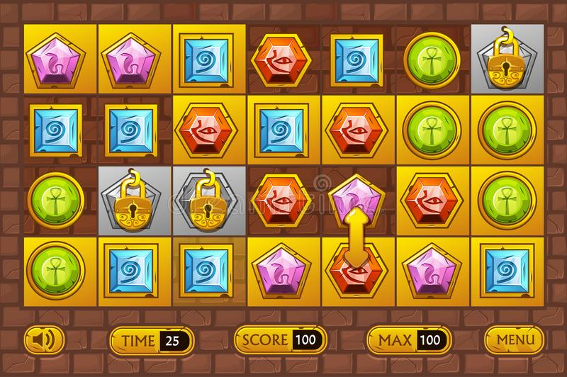 Egyptian style interface Match3 Games. Egypts precious multi-colored stones, game assets icons and gold buttons vector illustration