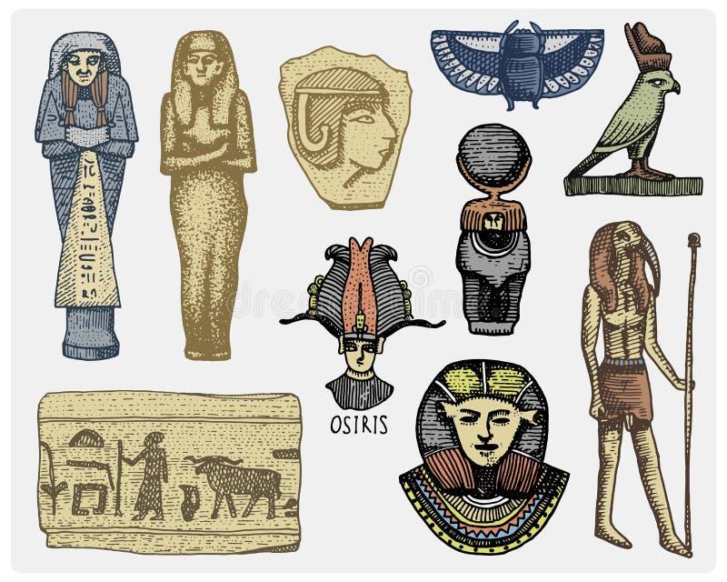 Egyptian symbols, pharaon, scorob, hieroglyphics and osiris head, god vintage, engraved hand drawn in sketch or wood cut stock illustration
