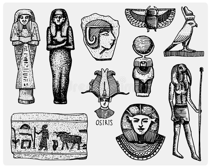 Egyptian symbols, pharaon, scorob, hieroglyphics and osiris head, god vintage, engraved hand drawn in sketch or wood cut. Style, old looking retro, isolated stock illustration