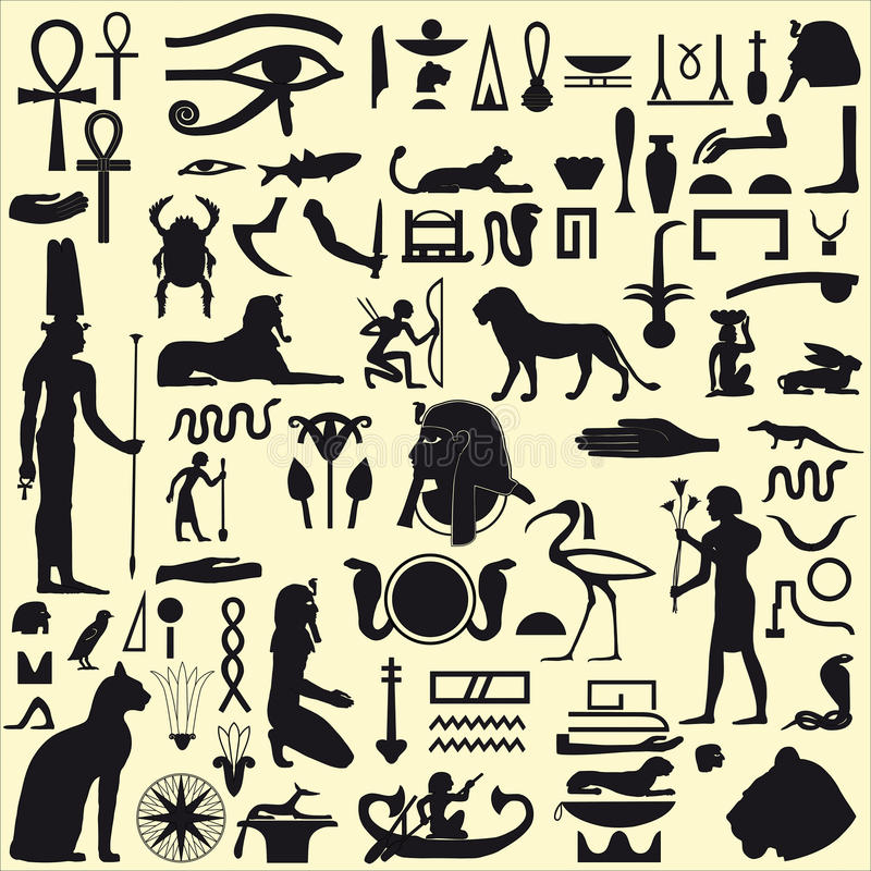 Egyptian Symbols and Signs. Ancient Egyptian symbols and signs. Collection of different silhouettes