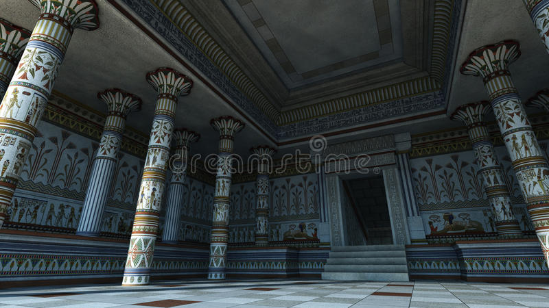 Egyptian Temple. 3D rendering of interior of an Egyptian style temple stock illustration