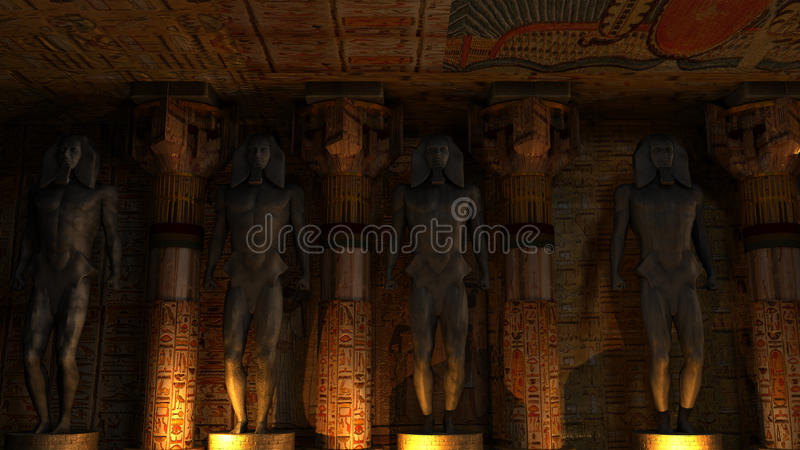 Egyptian Temple Interior stock illustration