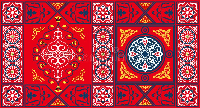 Egyptian Tent Fabric Pattern 2-Red vector illustration