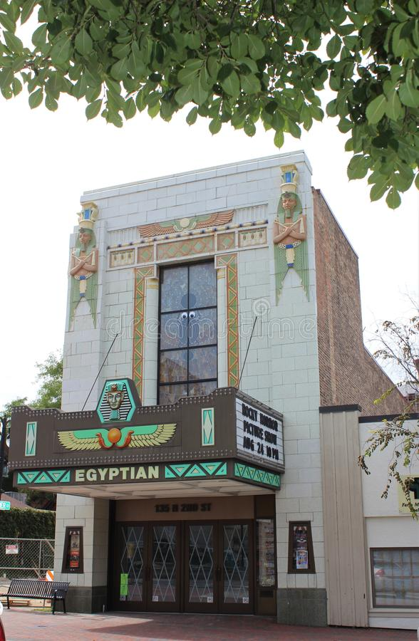 Egyptian Theatre, DeKalb, Illinois USA. The Egyptian Theatre in DeKalb, Illinois, United States, opened in 1929. It is an Egyptian Revival theatre and is listed stock photo