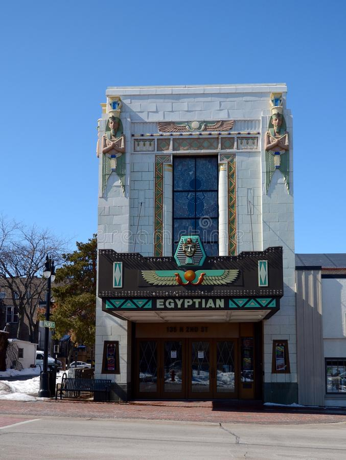 Egyptian Theatre. This is a Winter picture of the Egyptian Theatre in Dekalb, Illinois. The theatre was designed by Elmer F. Behrns, is an example of the stock image