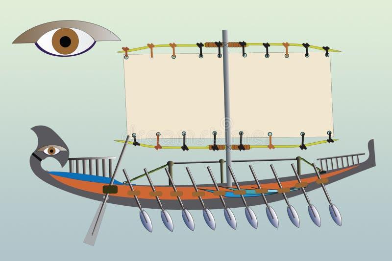 Egyptian uma embarcação ilustração do vetor